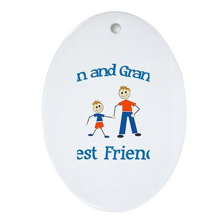 Evan & Grandpa - Best Friends Oval Ornament