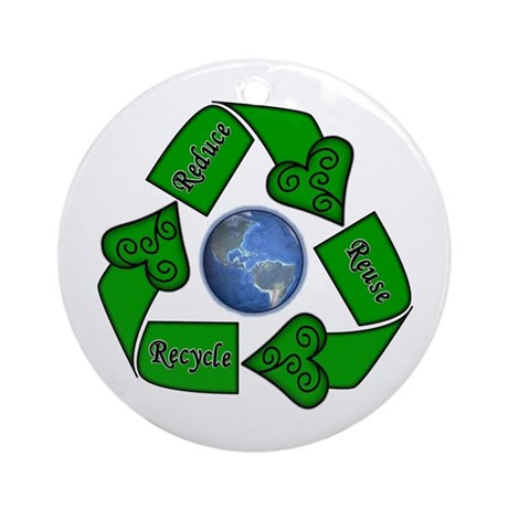 Reduce Reuse Recycle - Earth Ornament (Round)