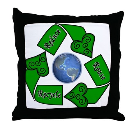 Recycle Or Throw Away Pillows : Reduce Reuse Recycle - Earth Throw Pillow by lovelycreations