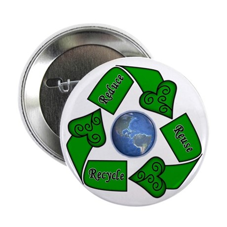 "Reduce Reuse Recycle - Earth 2.25"" Button (100 pac"