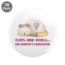 "Cute Cats And Books 3.5"" Button (10 pack)"