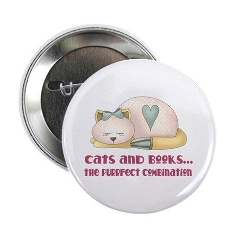 """Cute Cats And Books 2.25"""" Button"""