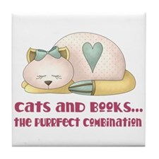 Cute Cats And Books Tile Coaster