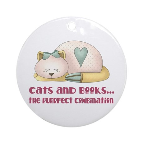 Cute Cats And Books Ornament (Round)