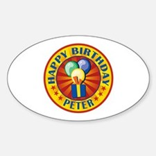 Happy Birthday Peter Personalized Oval Decal