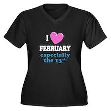 PH 2/13 Women's Plus Size V-Neck Dark T-Shirt