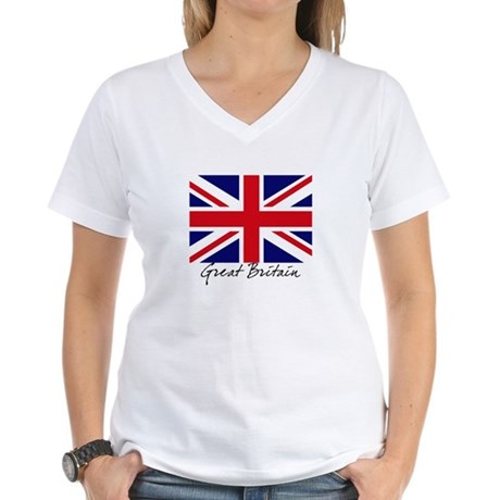 British Flag Union Jack Women's V-Neck T-Shirt