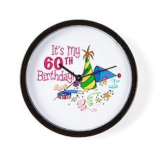 It's My 60th Birthday (Party Hats) Wall Clock