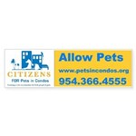 Pets in Condos Bumper Sticker (10 pk)