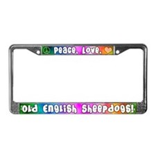 Hippie Old English Sheepdog License Plate Frame