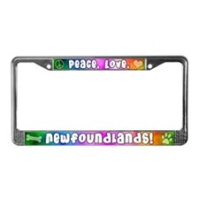Hippie Newfoundland License Plate Frame