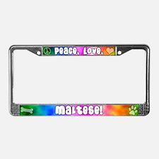 Hippie Maltese License Plate Frame