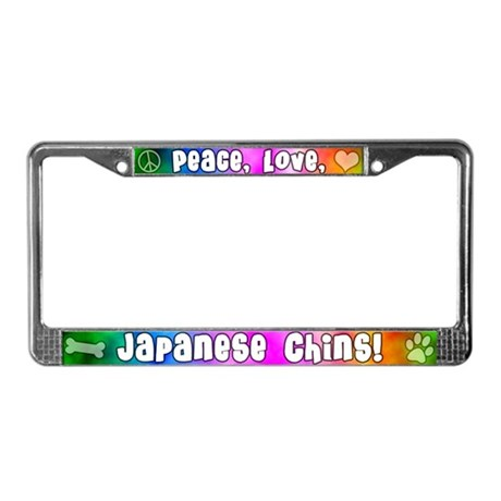 Hippie Japanese Chin License Plate Frame