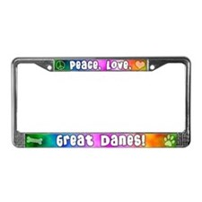 Hippie Great Dane License Plate Frame
