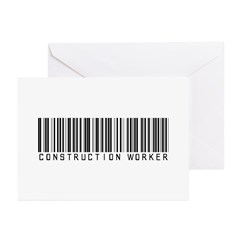 Construction Worker Barcode Greeting Cards (Pk of