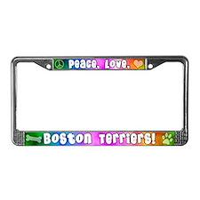 Hippie Boston Terrier License Plate Frame