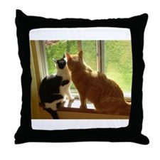 Orange Tabby Cats and Kittens Throw Pillow