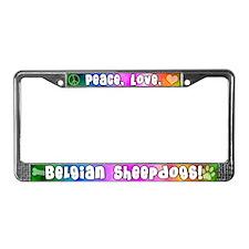 Hippie Belgian Sheepdog License Plate Frame