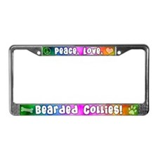 Hippie Bearded Collie License Plate Frame