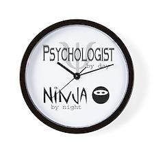 Psych Ninja W Wall Clock