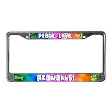 Hippie Azawakh License Plate Frame
