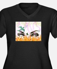 Flaming Eyes Women's Plus Size V-Neck Dark T-Shirt