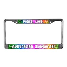 Hippie Austrlian Shepherd License Plate Frame