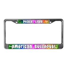 Hippie American Bulldog License Plate Frame