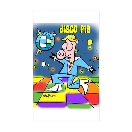 Disco Pig Rectangle Sticker