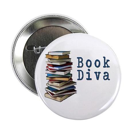 "Book Diva (w/books) 2.25"" Button (100 pack)"