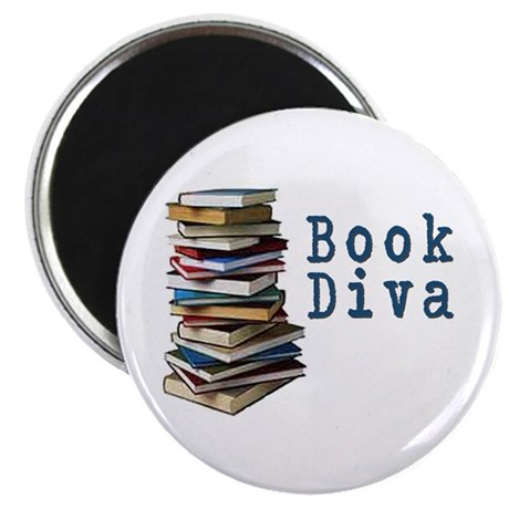 """Book Diva (w/books) 2.25"""" Magnet (100 pack)"""