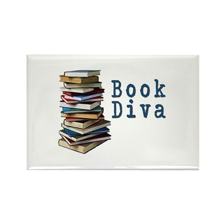 Book Diva (w/books) Rectangle Magnet (100 pack)