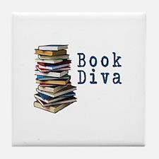 Book Diva (w/books) Tile Coaster