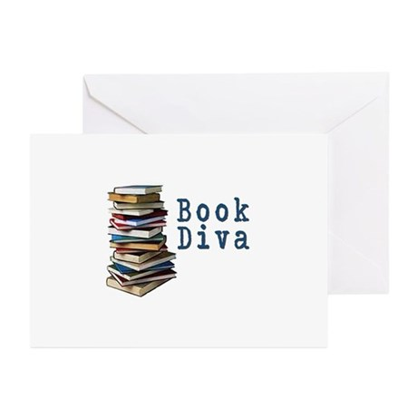 Book Diva (w/books) Greeting Cards (Pk of 20)