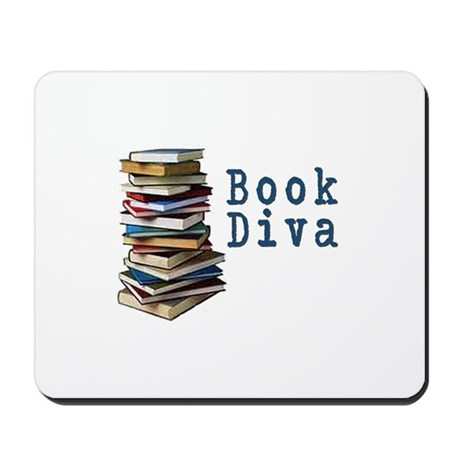 Book Diva (w/books) Mousepad