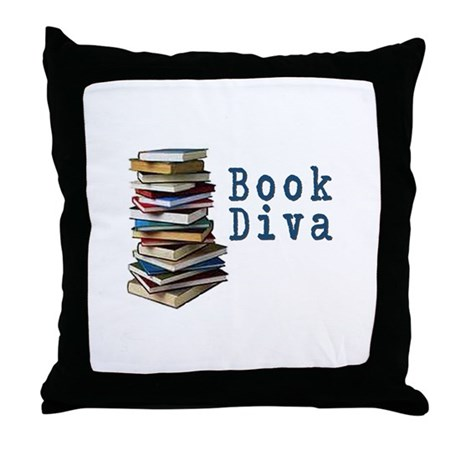 Book Diva (w/books) Throw Pillow