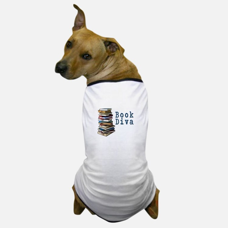 Book Diva (w/books) Dog T-Shirt
