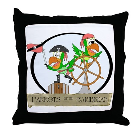 Parrots of the Caribbean Throw Pillow