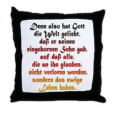 John 3:16 German Throw Pillow