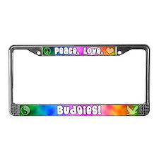 Hippie Budgie License Plate Frame
