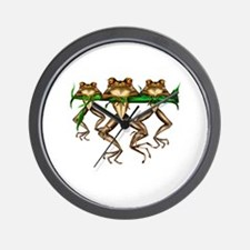 Three Frogs Wall Clock