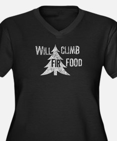 Will climb fir food Women's Plus Size V-Neck Dark