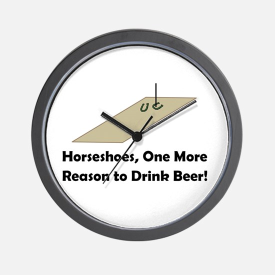 Horseshoes and Beer Wall Clock