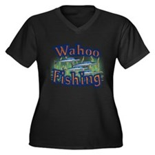 Wahoo Fishing Women's Plus Size V-Neck Dark T-Shir