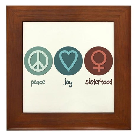 Peace Joy Sisterhood Framed Tile