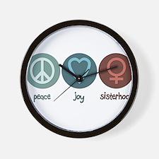 Peace Joy Sisterhood Wall Clock