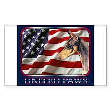Doberman Pinscher USA Flag Rectangle Decal