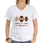 Peace Love Pottery Women's V-Neck T-Shirt