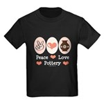 Peace Love Pottery Kids Dark T-Shirt