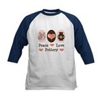 Peace Love Pottery Kids Baseball Jersey